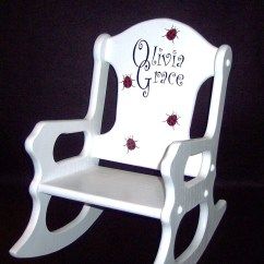 Personalized Little Kid Chair Wingback Office Toddler Rocking Ladybugs
