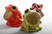 Vintage Ceramic Frog Sponge Holder Firecracker Red by modclay