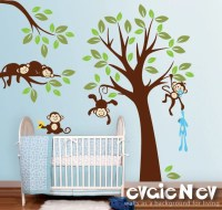 Monkeys Everywhere Wall Decals Jungle Tree with Monekys Wall
