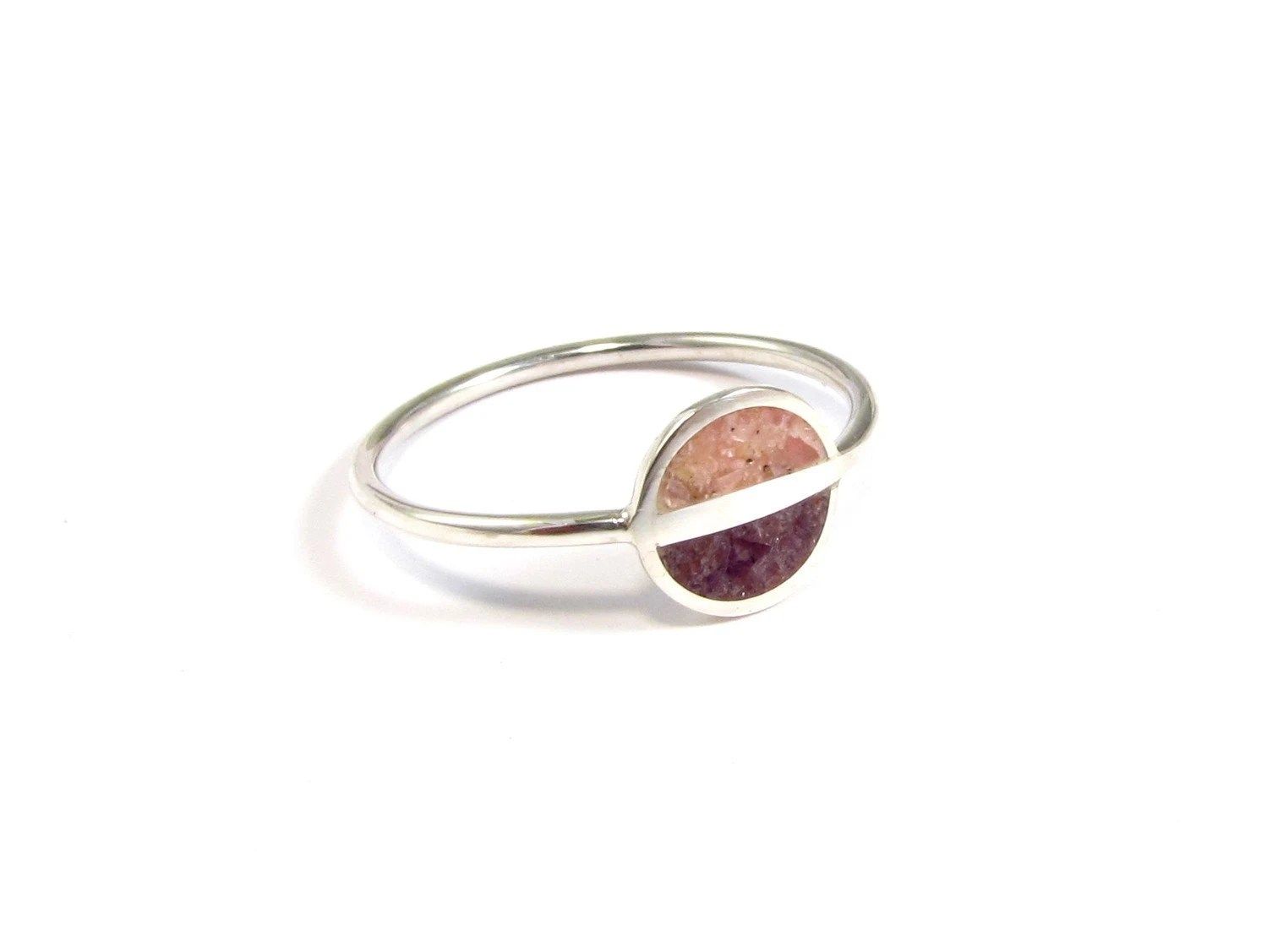 Sterling Silver Ring Purple Pink Saturn Soft Colors