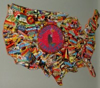 United States Map Art Collage 18 x 13 Wooden Sculpture Wall