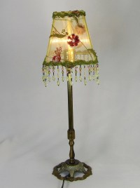 1 Lamp Shade Small Square Embroidered Green Beaded Fringe