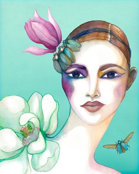 PRINT / Magnolia and beetles / girl with  teal and pink magnolia headband and beetles