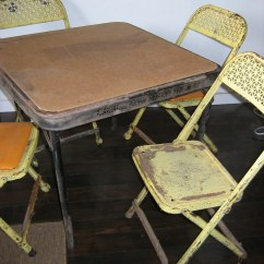 Folding Card Table And Chairs Rolling For Office 1950s Metal Childs Vintage 4