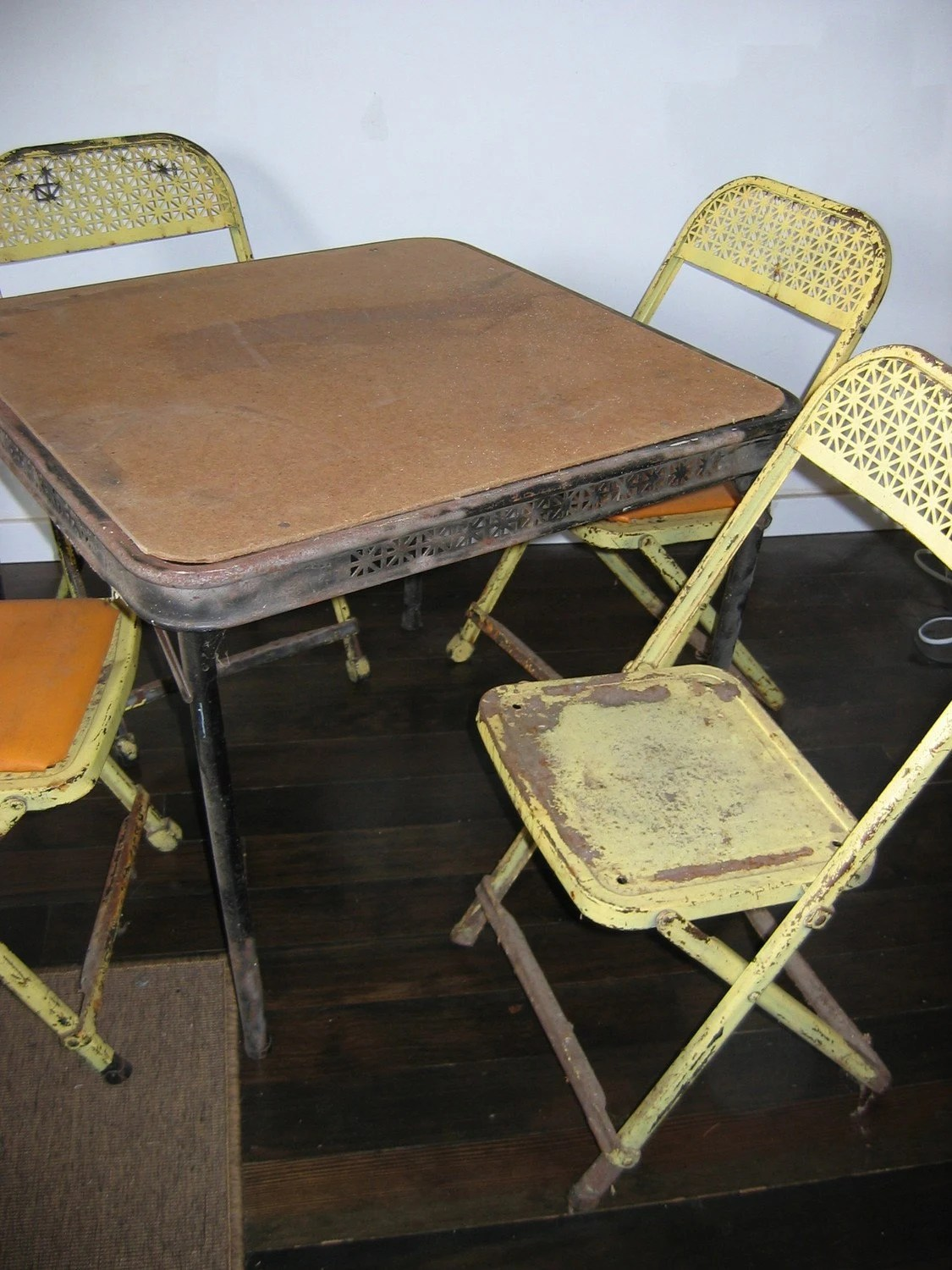 Folding Card Table And Chairs 1950s Metal Folding Chairs And Table Childs Vintage 4