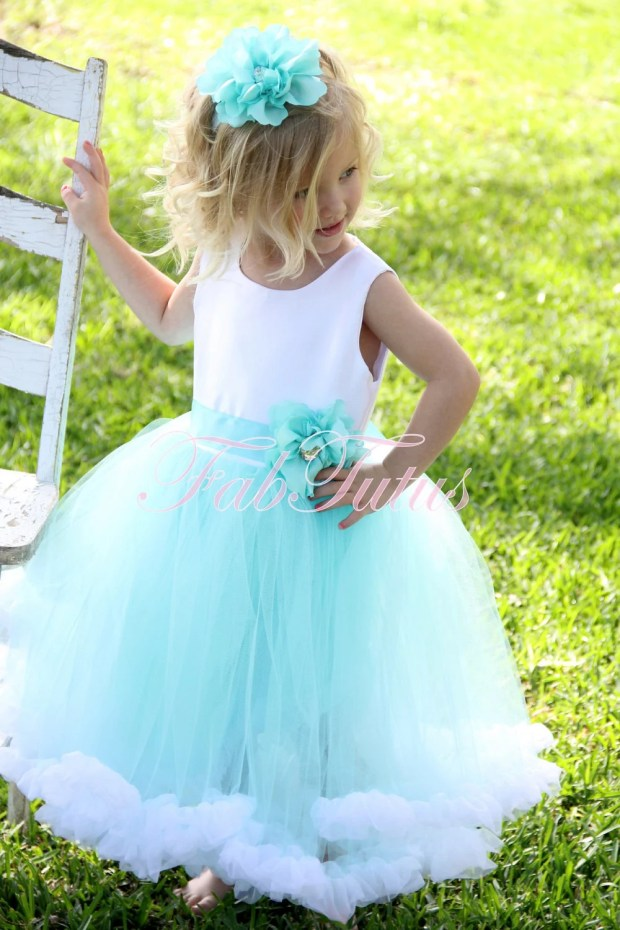 "Couture Tiffany Blue flower girl tutu dress with chiffon ruffle and handmade flower pin by FabTutus - ""Jillian"""