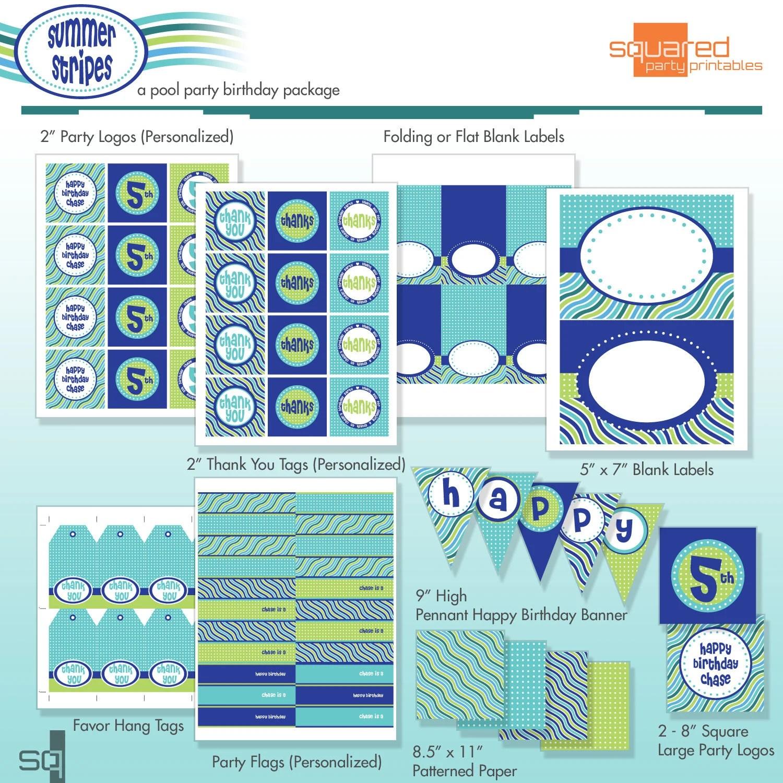 Pool Party Birthday Printable Diy Package Summer Stripes