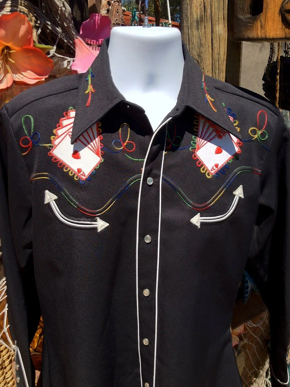 Royal Flush Vintage 60s Mens Rockabilly Western Shirt H Bar C