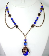Cobalt Blue & Copper Necklace and Earring Set Vintage Style