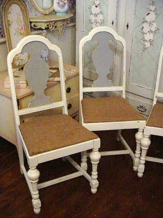 Vintage Shabby Chic Painted Chair Burlap Seats Vintage Dining