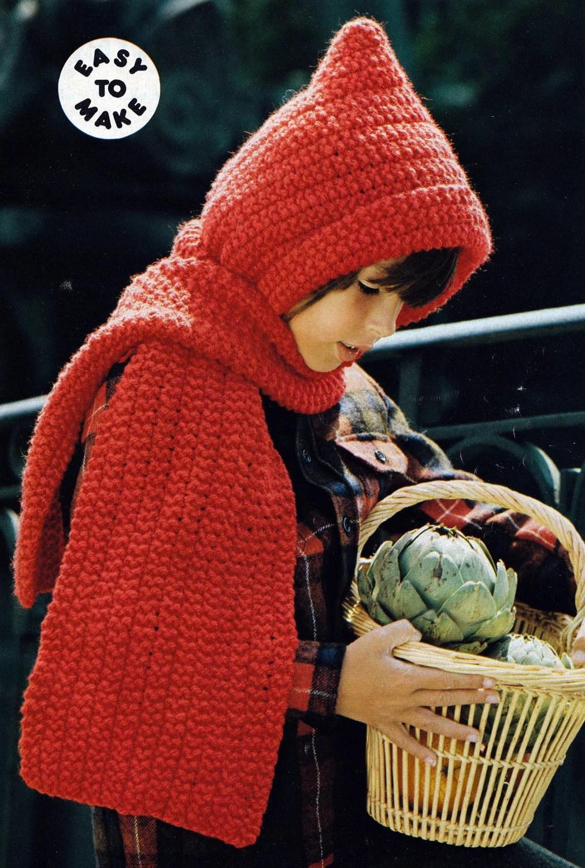 Knit Kids Hooded Scarf Vintage Knitting PDF PATTERN