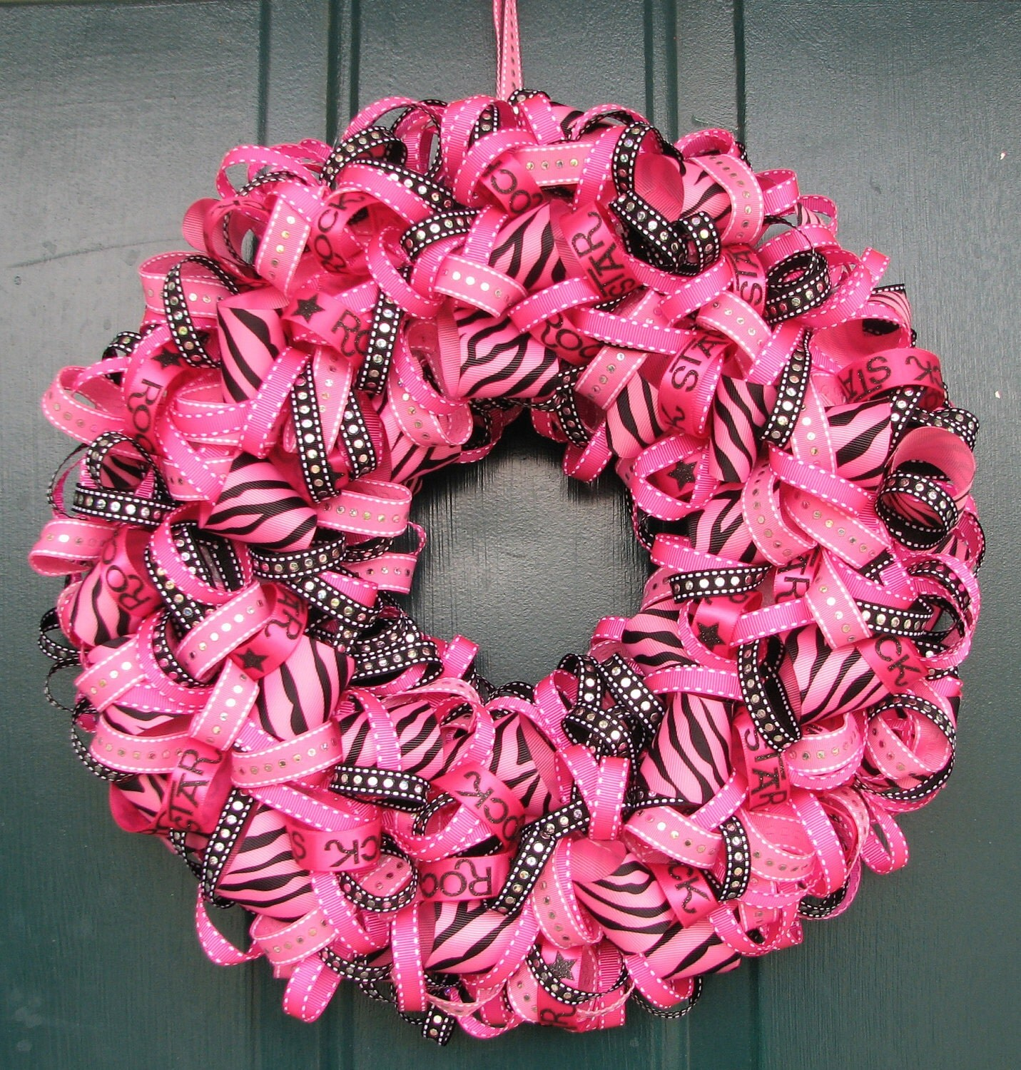 Ribbon Wreath Black And Hot Pink Great For Girls Room