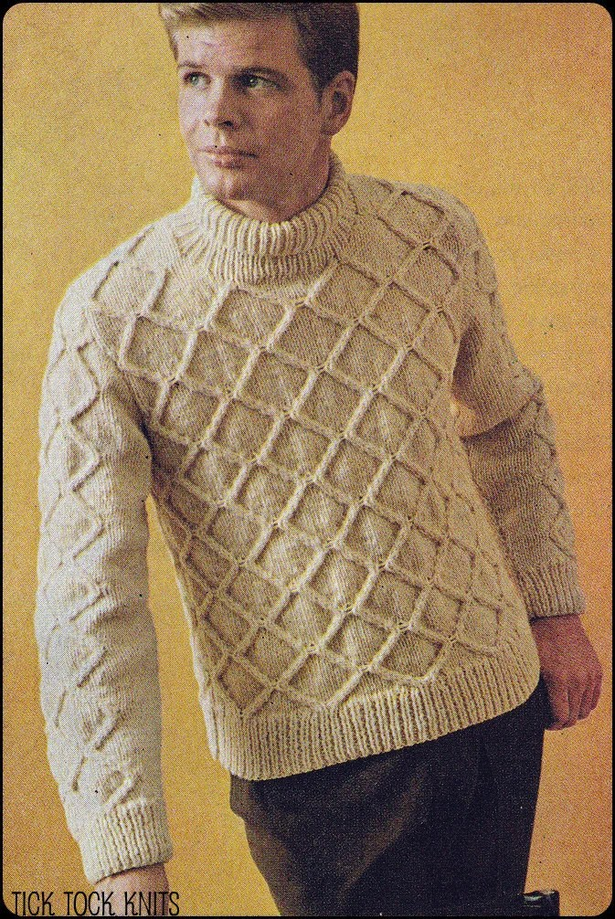 No219 Vintage Knitting Pattern PDF Mens Diamond Aran