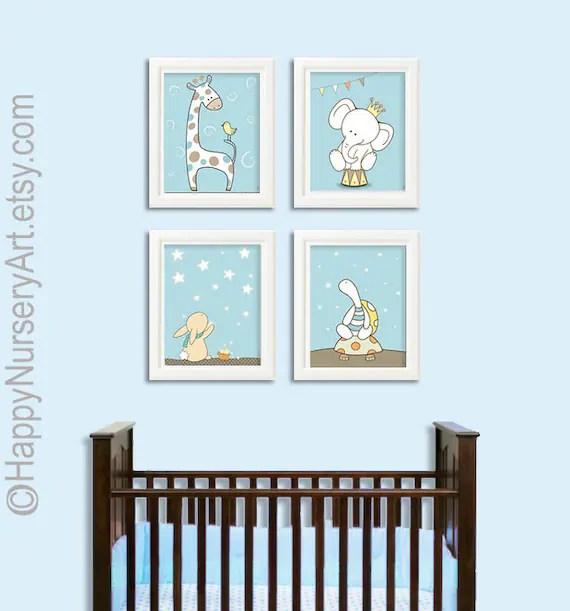 Boys nursery art Baby boy nursery art prints blue wall art