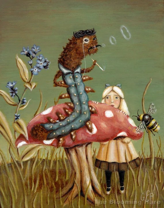 Alice in Wonderland Art - The Blue Caterpillar print 8x10