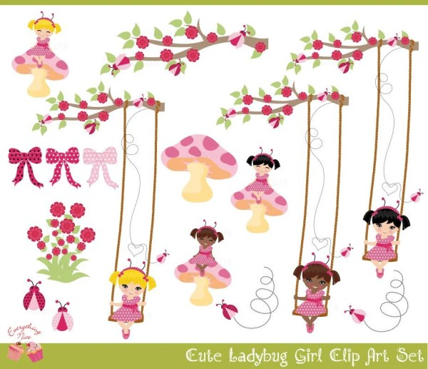 ladybug girl clip art set 1everythingnice