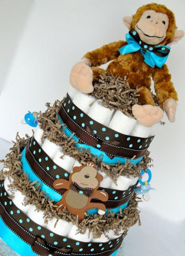Monkey Boy Baby Shower Diaper Cake