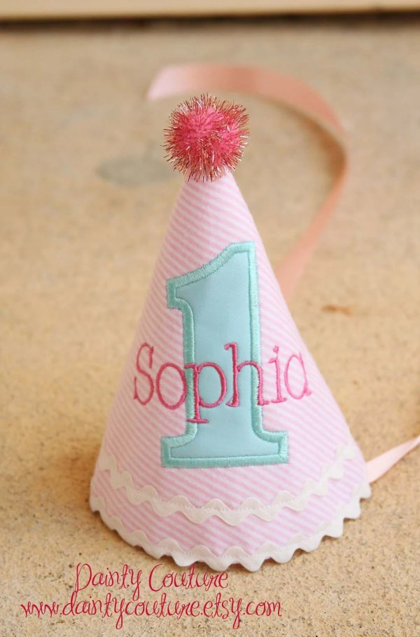 Girl Birthday Hat Pink And Aqua Winter Wonderland