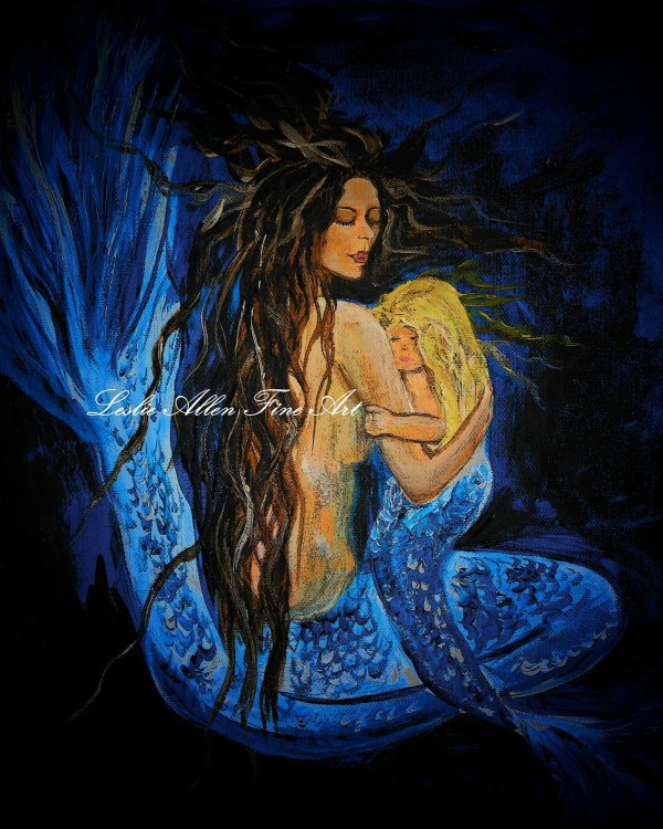 Mermaid Painting Art Mother And Child Seascape