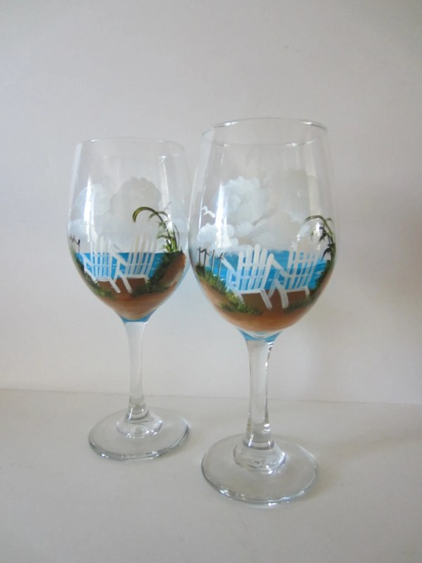 2 Hand Painted Beach Chair Wine Glasses Everythingpainted