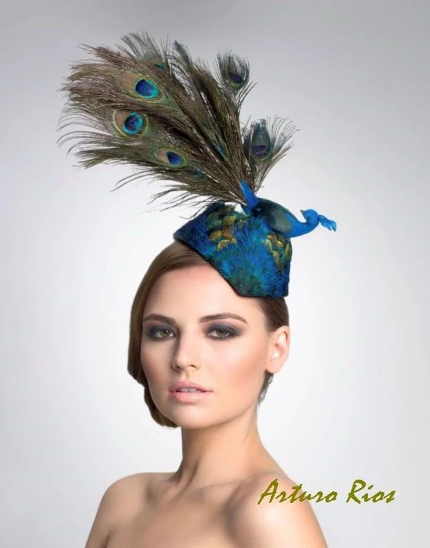 Peacock Fascinator Cocktail Hat Kentucky Derby Hat