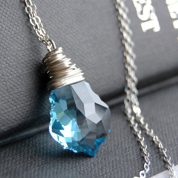 Blue Crystal Pendant Necklace