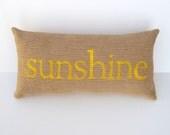 yellow pillow, burlap sunshine yellow pillow, sun, beach house decor, beach theme pillow, home decor, yellow nursery, mother's day gift