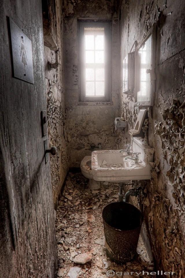 Old Abandoned Ladies Room Old Toilet Bathroom in Asylum