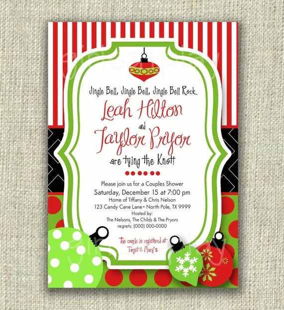 Items Similar To Christmas Bridal Shower Invitation