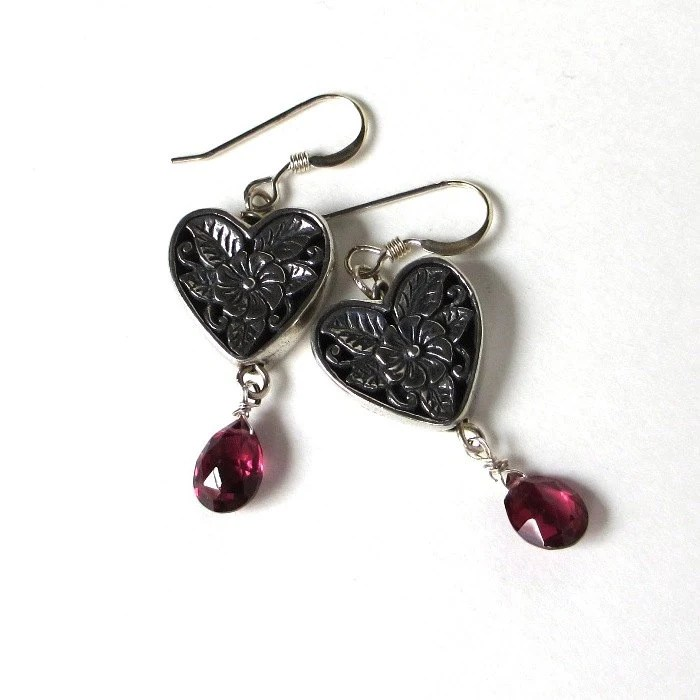 Rhodolite Garnet Earrings, Hearts and Flowers Earrings, Gemstone Heart Earrings, .925 Sterling Silver Dangles, January Birthstone - sandcastlejewels