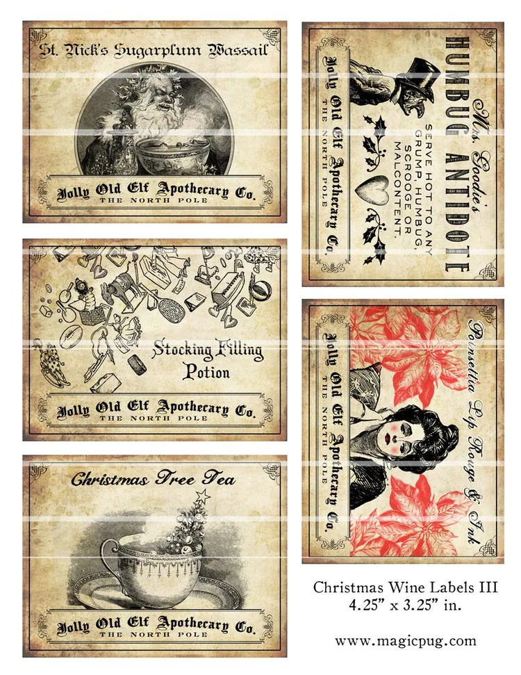 Antique Christmas Potion Wine Labels 425 x 325 by magicpug