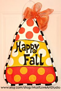 Fall Autumn Candy Corn Burlap Door Hanger by MustLoveArtStudio