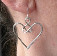 Angel earrings celtic jewelry wire knot aluminum wire heart