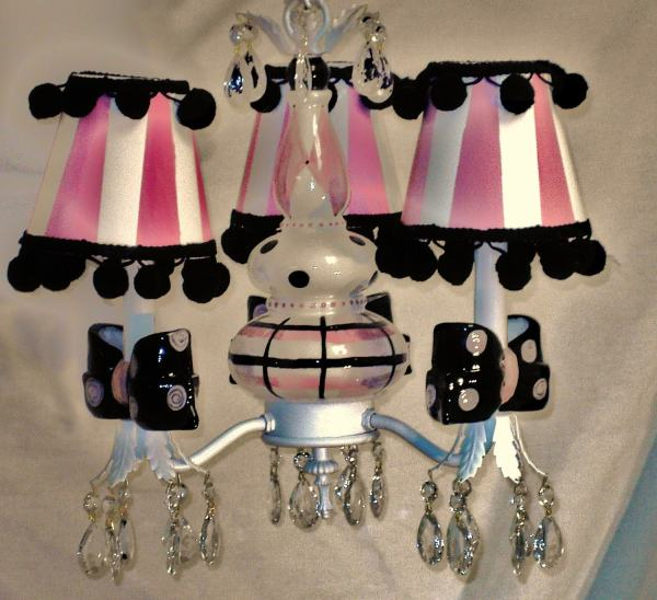 Pink And Black Chandelier Girls Room Pendant