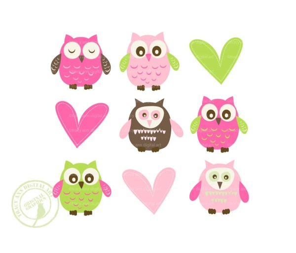 Items Similar Jellybean Baby Owl And Heart Clip Art