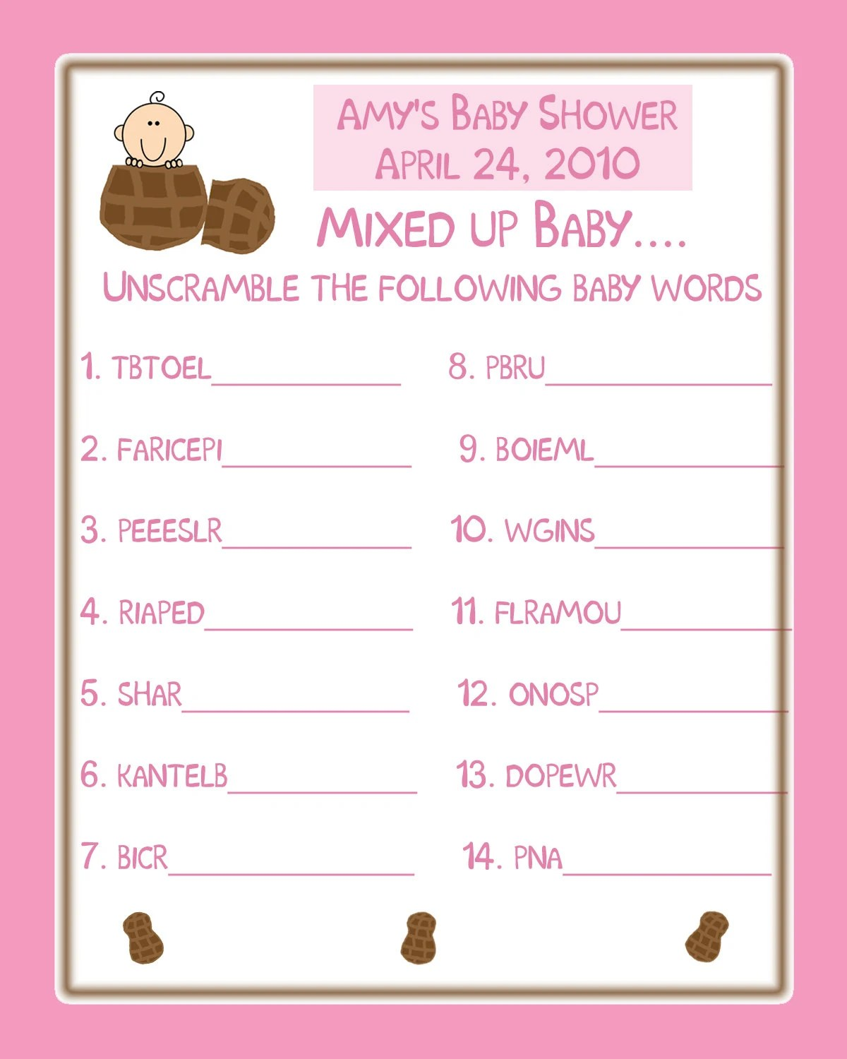 24 Personalized Baby Shower Word Scramble Game Cards Pink