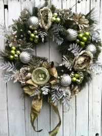 Large Victorian Christmas Wreath Green and Gold Wreath for