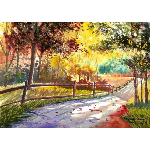 Watercolor Landscape Painting Print Country Road Fall Trees
