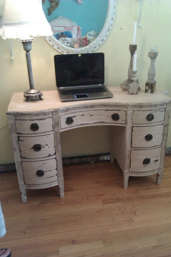 vintage desk vanity shabby distressed chic office computer tan