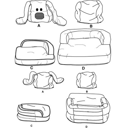 OOP DOG BED Pets Sewing Pattern Novelty Dogs Cat Pet Couch