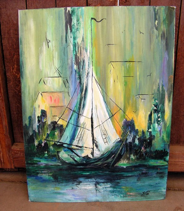 Original Oil Painting Seascape Sailboat Wall Art Abstract