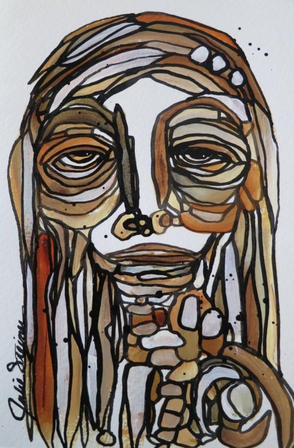 Mosaic Wall Hanging Abstract Face Art Original Painting Girl