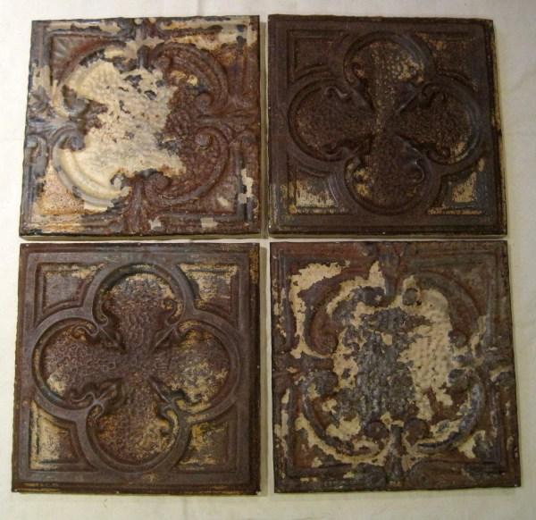 4 Antique Ceiling Tin Tiles. Circa 1900. Framed & Ready