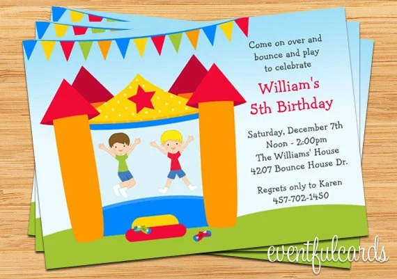 Bounce House Birthday Party Invitation For Boy Printable