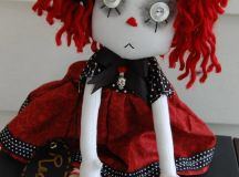 Red Cloth Art Ghost Goth Raggedy Ann style Doll ooak