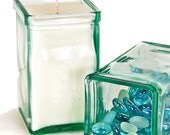 """Unique Modern Soy wax Candle - Almost 5"""" Tall Recycled Glass Container Candle - GreenLeafCandles"""