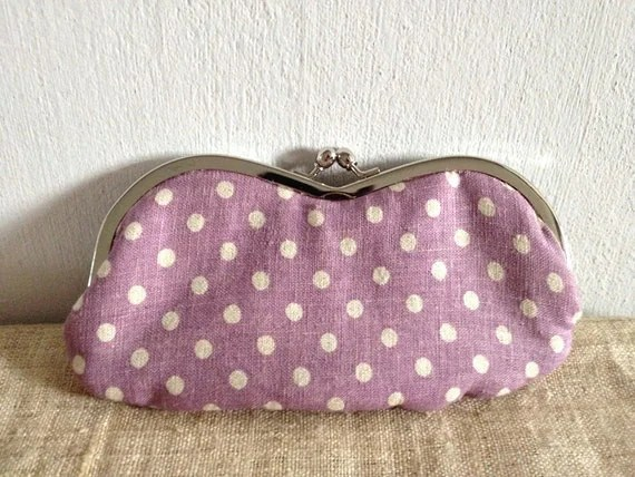 Eyeglass / Sunglasses Case - Purple Polkadot