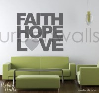 Vinyl Wall Decal Sticker Art Faith Hope & Love