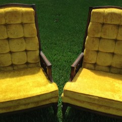 High Back Tufted Chair Does Medicare Pay For Shower Chairs Sale Vintage Lewittes Gold Velvet