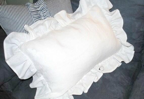 White Ruffled Pillow Sham 16x24